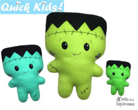 ITH Quick Kids Frankenstein Pattern Machine Embroidery Halloween doll by Dolls And Daydreams