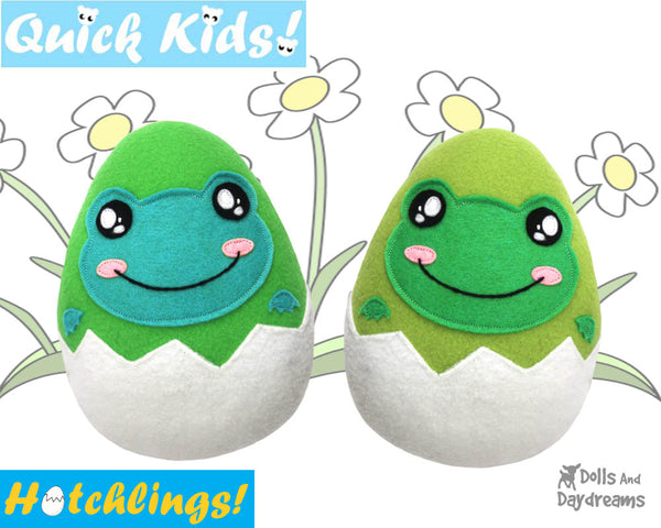 Quick Kids Frog Egg Head Hatchling Easter Egg Softie Sewing Pattern Plush Toy by Dolls And Daydreams