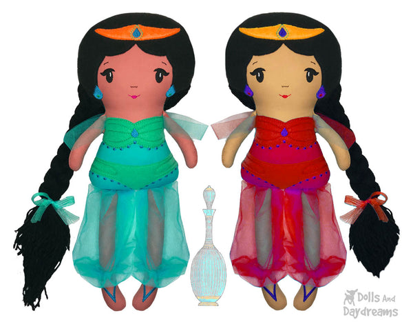 ITH Genie Princess Jasmine cloth doll Pattern machine embroidery doll by dolls and daydreams