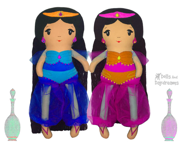 ITH Genie Princess Jasmine doll Pattern In the Hoop machine embroidery doll by dolls and daydreams