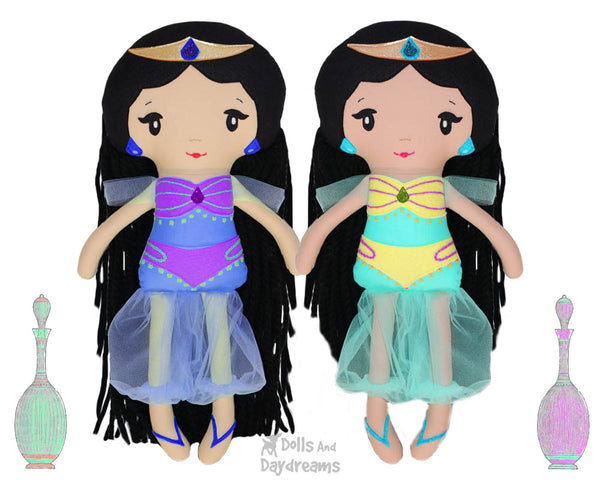 Genie Princess Jasmine cloth doll PDF Sewing Pattern by dolls and daydreams diy