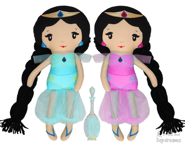 Genie Princess Jasmine rag doll Sewing Pattern by dolls and daydreams diy toy