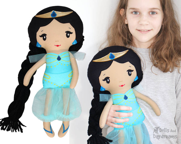 Genie Princess Jasmine cloth doll Sewing Pattern by dolls and daydreams diy