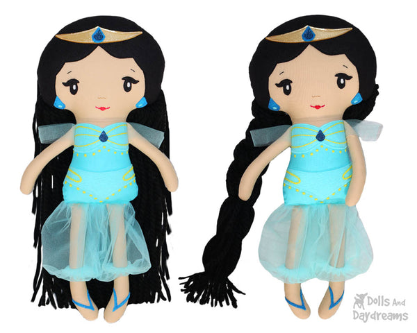 Genie Princess Jasmine cloth doll Sewing Pattern by dolls and daydreams diy make your own