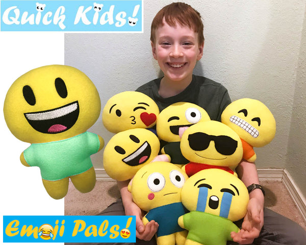 ITH Quick Kids Angry Emoji Doll Plush Pattern DIY Machine Embroidery Soft Toy