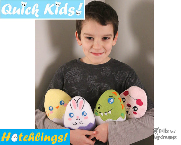 Hatchling Easter Egg Softie Sewing Pattern Plush Toy by Dolls And Daydreams