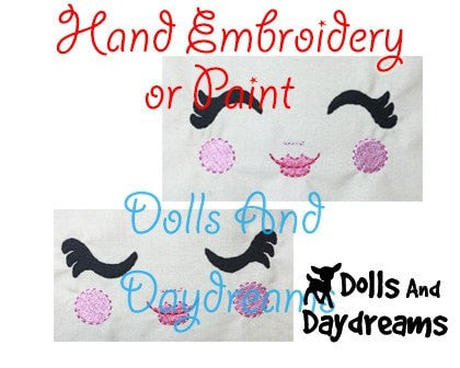 Hand Embroidery Or Painting Luscious Lashes Doll Face Pattern - Dolls And Daydreams - 3