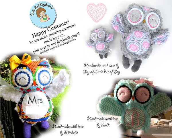Embroidery Machine Owl Pattern - Dolls And Daydreams - 4