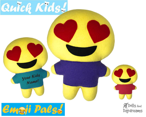 ITH Quick Kids Heart Eyes Emoji Doll Plush Pattern DIY Machine Embroidery In The Hoop Toy