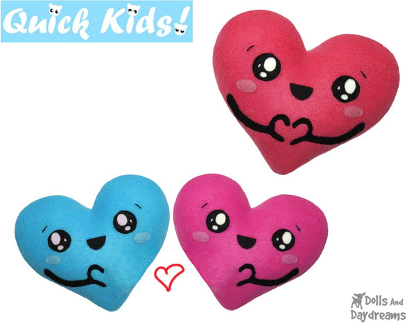 Quick Kids Love U Heart Sewing Pattern bu Dolls And Daydreams
