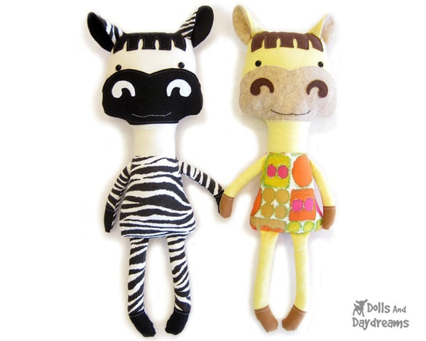 Horse and Zebra Sewing Pattern - Dolls And Daydreams - 1