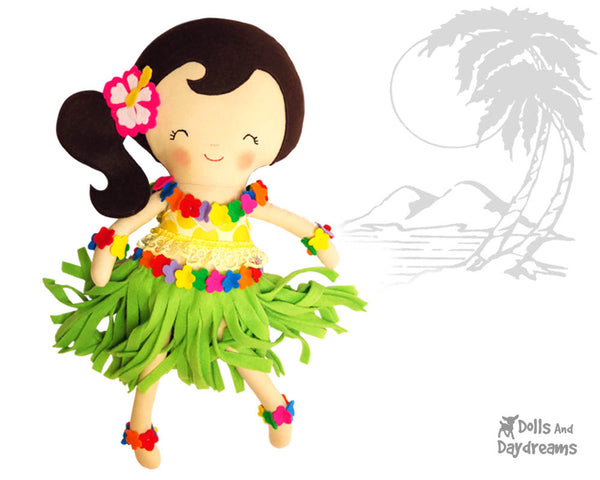 Hula Girl cloth doll pdf Sewing Pattern by Dolls And Daydreams  easy summer diy