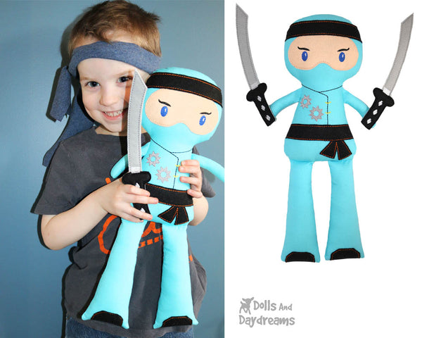 Ninja Cloth Doll ITH Pattern machine embroidery In the hoop karate Kid diy martial arts plushie by dolls and daydreams