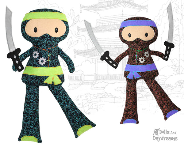 Ninja Cloth Doll ITH Pattern machine embroidery In the hoop karate diy martial arts kids toy by dolls and daydreams