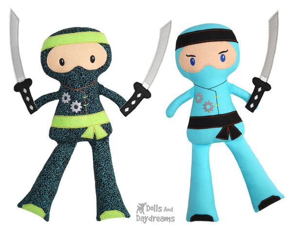 Ninja Cloth Doll ITH Pattern machine embroidery In the hoop karate Kid diy martial arts toy by dolls and daydreams