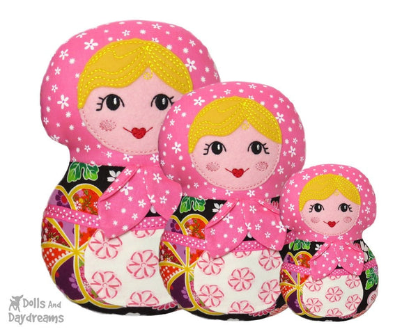 Machine Embroidery Babushka Doll Face Pattern - Dolls And Daydreams - 3