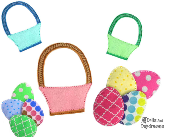 ITH Easter Basket and eggs In the hoop Dress Up Pattern by Dolls And Daydreams