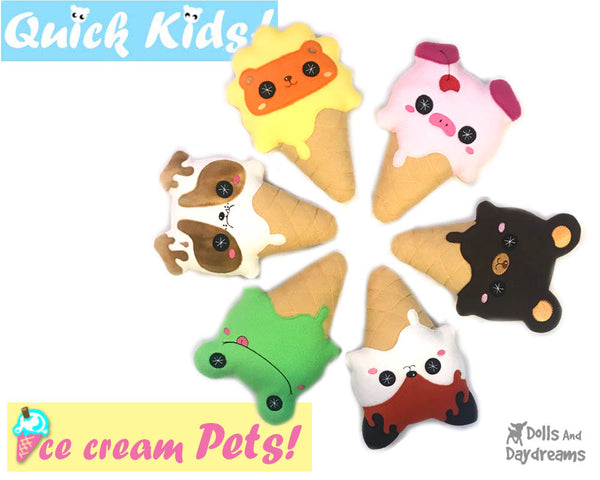 Kawaii cute Ice Cream ITH machine embroidery Pattern PDF  plushie soft toy diy by Dolls and Daydreams