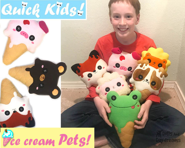 Kawaii cute Ice Cream ITH machine embroidery Pattern PDF  plush diy by Dolls and Daydreams