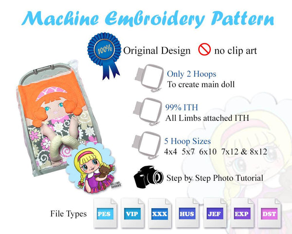 Embroidery Machine Tilda Doll Pattern