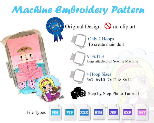 Embroidery Machine ITH Ballerina Doll Pattern