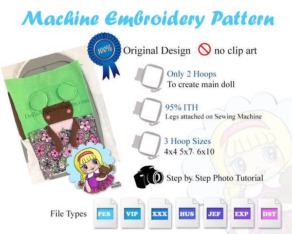 Embroidery Machine Little Sister Doll Pattern