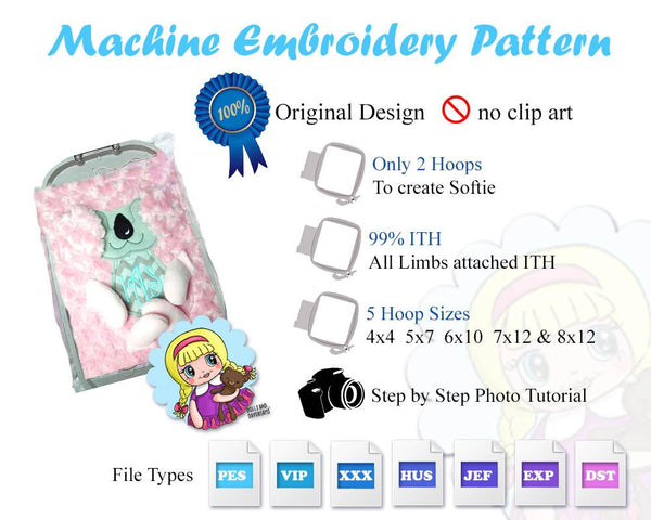 Embroidery Machine Dinosaur ITH Pattern
