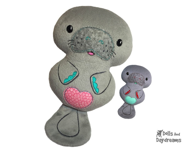 Embroidery Machine Manatee Pattern - Dolls And Daydreams - 1