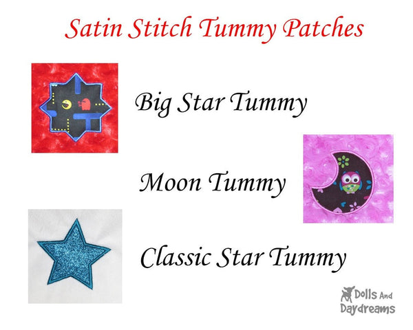 Satin Stitch Tummy Patches B –  Big Star, Star, Moon– Bedtime Triple Pack - Dolls And Daydreams - 2