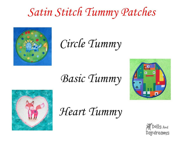Satin Stitch Tummy Patches A –  Circle, Heart, Basic – Triple Pack A - Dolls And Daydreams - 2