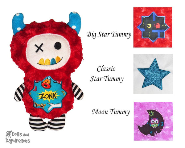 Satin Stitch Tummy Patches B –  Big Star, Star, Moon– Bedtime Triple Pack - Dolls And Daydreams - 1