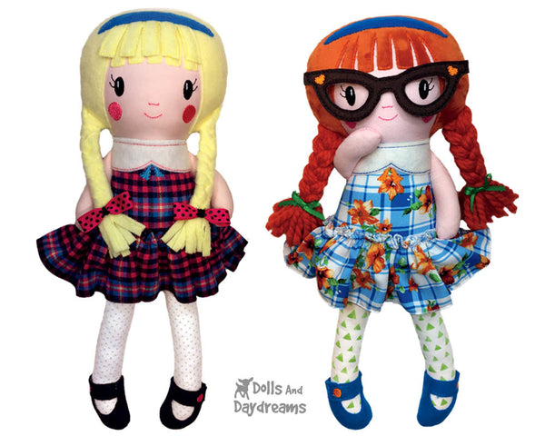 ITH In The Hoop Schoolgirl Cloth Doll Pattern by Dolls And Daydreams DIY Machine Embroidery  Fabric toy