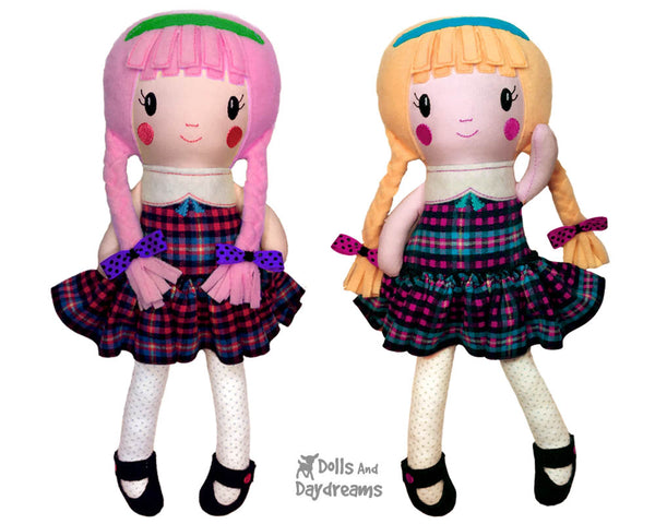ITH In The Hoop Schoolgirl Cloth Doll Pattern by Dolls And Daydreams DIY Easy Machine Embroidery  Fabric toy