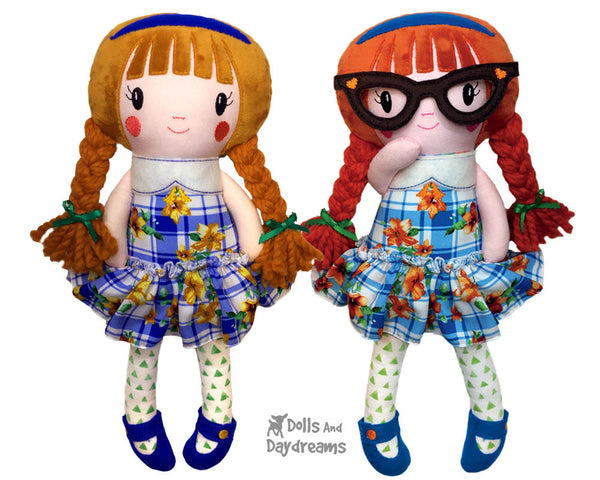 In The Hoop Schoolgirl Cloth Doll Pattern by Dolls And Daydreams DIY Machine Embroidery  Fabric toy