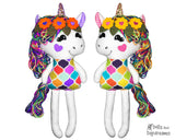 ITH Yarn Hair Unicorn Machine Embroidery Pattern Softie DIY Kids Softie Plush Toy by Dolls And Daydream