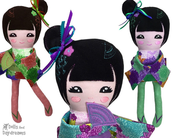 Embroidery Machine Geisha Pattern - Dolls And Daydreams - 6