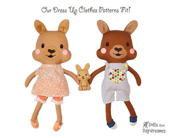 Kangaroo & Joey soft toy Sewing Pattern by Dolls And Daydreams DIY kids dress up toy