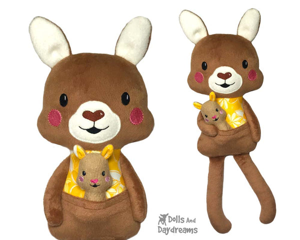 ITH Big Kangaroo & Joey Softie Pattern by Dolls And Daydreams DIY Stuffed toys In The Hoop
