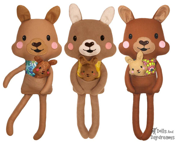 Kangaroo & Joey softie Sewing Pattern by Dolls And Daydreams DIY kids toy