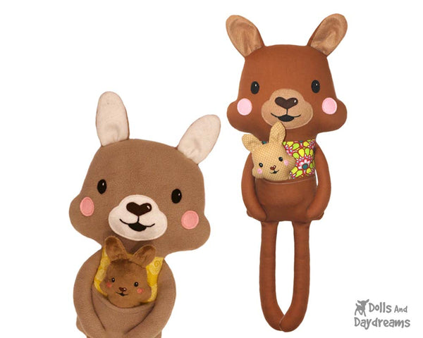 Kangaroo & baby plushie Sewing Pattern by Dolls And Daydreams DIY kids toy