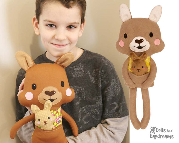 Kangaroo & Joey soft toy Sewing Pattern by Dolls And Daydreams DIY kids toy