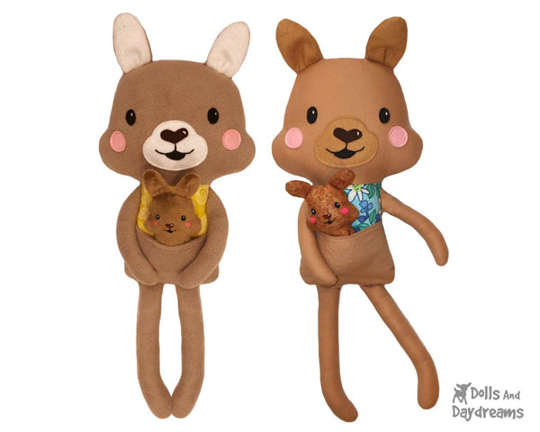 Kangaroo & Joey soft toy Sewing Pattern by Dolls And Daydreams