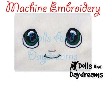 Machine Embroidery Kawaii Boy Doll Face Pattern - Dolls And Daydreams - 3