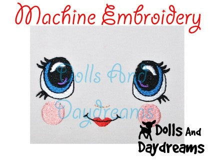 Machine Embroidery Kawaii Doll Face Pattern - Dolls And Daydreams - 3