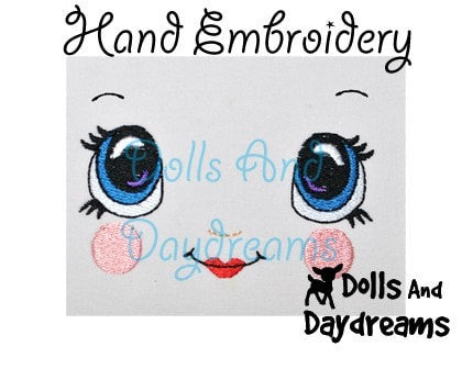 Hand Embroidery Or Painting Kawaii Girl Doll Face Pattern - Dolls And Daydreams - 3