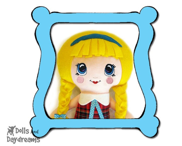 Machine Embroidery Kawaii Doll Face Pattern - Dolls And Daydreams - diy in the hoop cute doll face