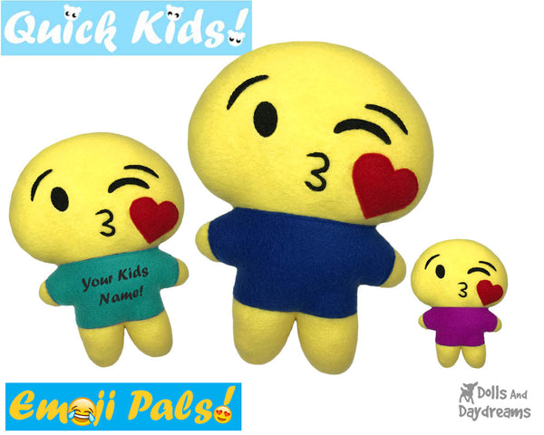 ITH Quick Kids Kissing Emoji Doll Plush Pattern DIY Machine Embroidery In The Hoop Toy