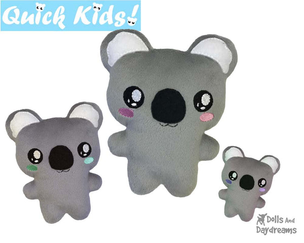 ITH Quick Kids Koala Pattern by Dolls And Daydreams