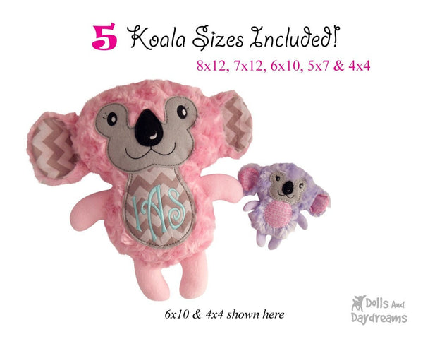 Embroidery Machine Koala Bear ITH Pattern - Dolls And Daydreams - 3