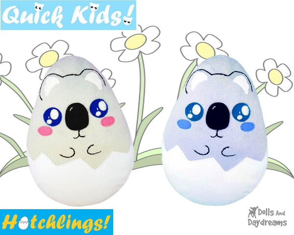 Quick Kids Koala Hatchling Easter Egg Softie Sewing Pattern soft toy Plushie diy by Dolls And Daydreams